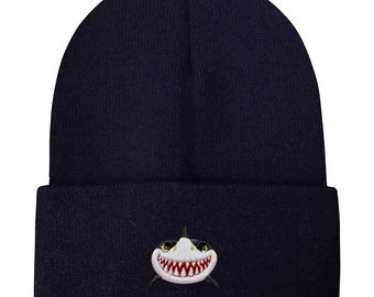 092f7873aba Capsule Design Shark Face Basic Ski Winter Beanie Hats Navy