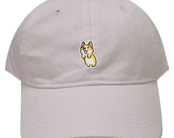 3cc5de5530188 Capsule Design Cute Welsi Corgi Cotton Dad Baseball Cap White
