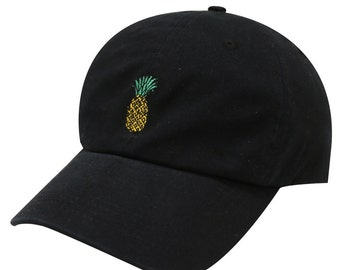Capsule Design Small Pineapple Embroidery Cotton Baseball Dad Cap Black 253febe4fe2f