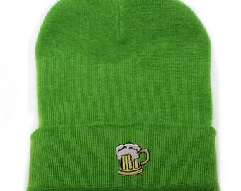 7c10316ccdfcd Capsule Design Beer Basic Ski Winter Beanie Hats Lime