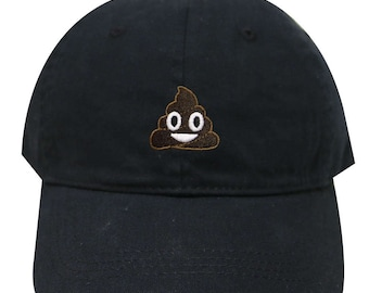 Capsule Design Poop Emoji Cotton Baseball Dad Cap Black 9e849d6252ad
