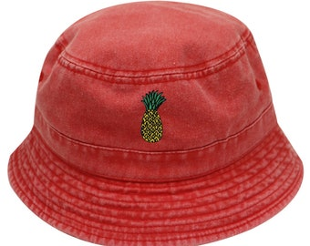 4c700f2677a Capsule Design Pineapple Washed Cotton Bucket Hats - Red