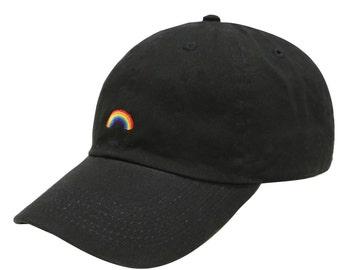 953ccaa1c23 Capsule Design Rainbow Cotton Baseball Dad Cap Black