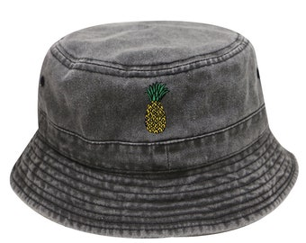 be9c0d020a7 Capsule Design Pineapple Washed Cotton Bucket Hats - Dark Gray
