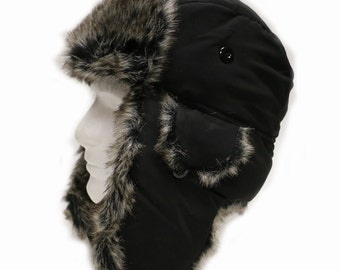 01ba6527aff Capsule Design Extra Warm Winter Solid Bomber Trapper Hat with Faux Fur  Black
