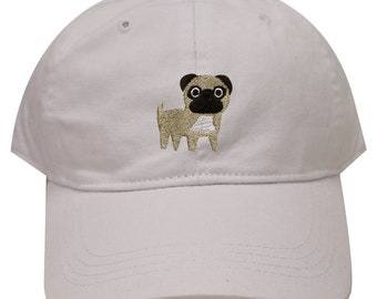 3afabfc31cd Capsule Design Cute Pug Dog Embroidered Baseball Dad Cap White