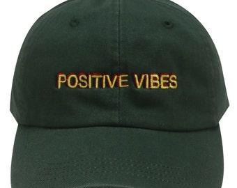 4d954419c8c37 Capsule Design Positive Vibes Dad Hat in Hunter Green