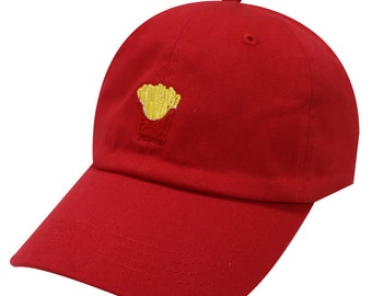 618a46647b0 Capsule Design French Fries Cotton Baseball Dad Cap Red