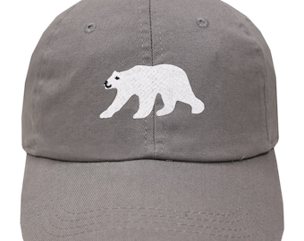 a8b254025fb4a Capsule Design Polar Bear Cotton Baseball Dad Caps - Light Grey
