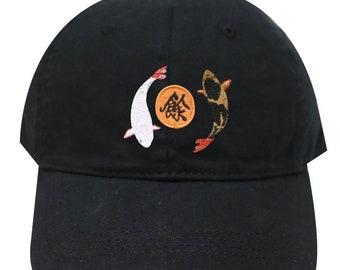8a75ce1946c0d Capsule Design Oriental Koi Fish Cotton Dad Baseball Cap Black