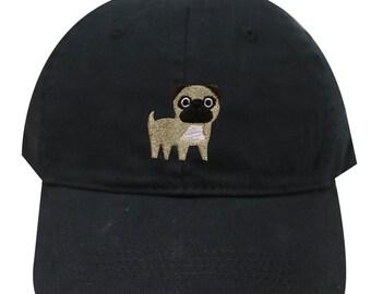 2286ad4edc7 Capsule Design Cute Pug Dog Embroidered Baseball Dad Cap Black