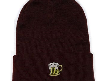 9ee8052b4048d Capsule Design Beer Basic Ski Winter Beanie Hats Burgundy