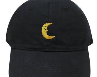 015f095242a Capsule Design Moon Cotton Baseball Dad Caps Black