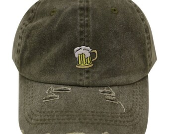 a921a58b8694f Capsule Design Beer Vintage Ripped Cotton Baseball Caps Olive