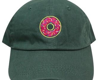 f1134559f06f3 Capsule Design Neon Sign Donuts Cotton Baseball Dad Caps Hunter Green