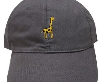 9f26f994595 Capsule Design Giraffe Embroidered Cotton Baseball Dad Cap Dark Gray