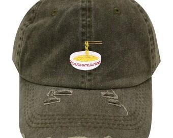 3df703172d392 Capsule Design Noodles Vintage Ripped Cotton Baseball Caps Olive