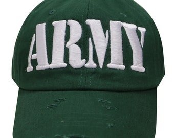 Capsule Design Army Vintage Embroidered Ripped Baseball Cap - Hunter Green 1a96c69b61cf