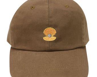 6d7ff09faf52fc Capsule Design Seashells Cotton Baseball Dad Cap Brown