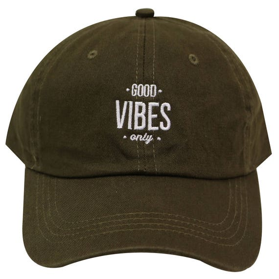 d6fe36bb6c5 Capsule Design Good Vibes Cotton Baseball Dad Caps Olive Green