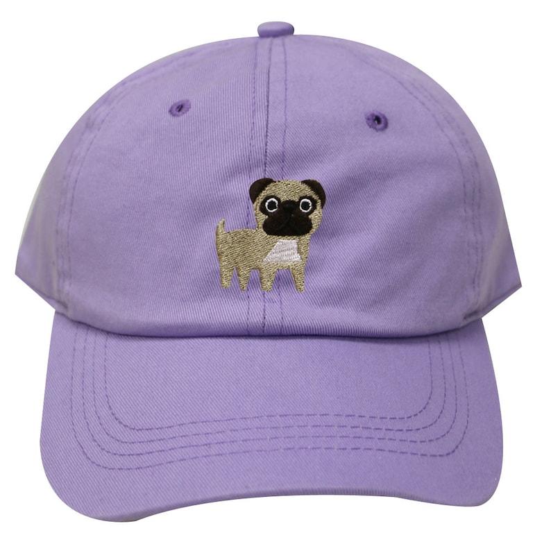 2e9545d0 Capsule Design Cute Pug Dog Embroidered Baseball Dad Cap Lilac