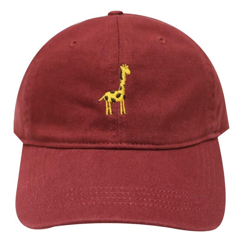 f63d87cc25a Capsule Design Giraffe Embroidered Dad Baseball Cap Burgundy