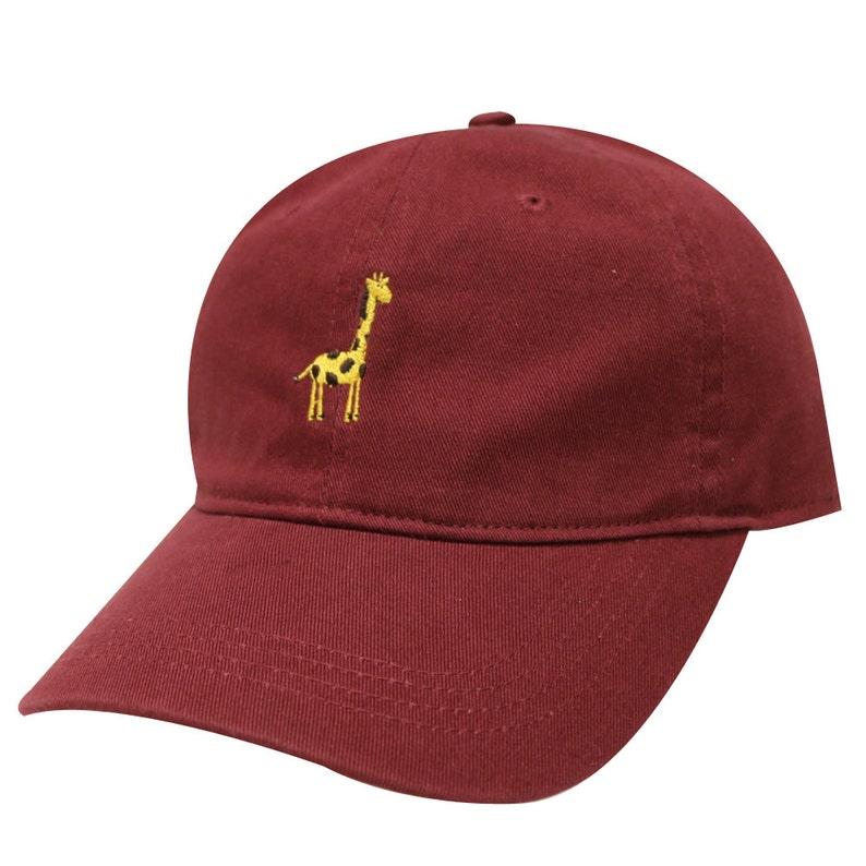 c4ed9d89e41 Capsule Design Giraffe Embroidered Dad Baseball Cap Burgundy