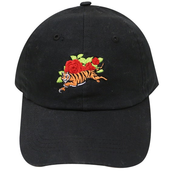 Capsule Design Tre210 Tiger And Roses Tattoo Cotton Baseball Etsy