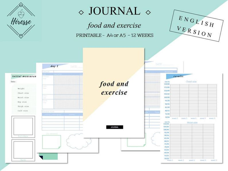 graphic relating to Printable Food and Exercise Journal named Printable Food stuff and Health and fitness Magazine - English