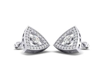 Pave Reuleaux Cubic Zirconia Earrings, Pave Reuleaux Earrings, Cubic Zirconia Earrings, Pave Earrings, Pave Cubic Zirconia Earrings, Jewelry