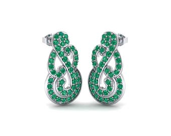 Pave Clef Emerald Earrings, Pave Emerald Earrings, Clef Earrings, Gemstone Earrings, Gift For Her, Jewelry, Earrings, Emerald Earrings, Gift