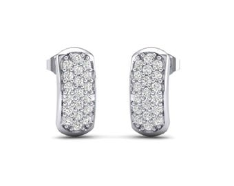 Curved Rectangle Pave Cubic Zirconia Earrings, Curved Rectangle Pave Earrings, Curved Earrings, Rectangle Pave Earrings, Cubic Zirconia