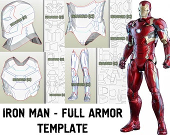 e2540316e71871 IRON MAN MK 46 (Foam Template) - Iron Man Armor Pattern - Pepakura -  Printable Pdf - Iron Man Cosplay - Civil War Iron Man