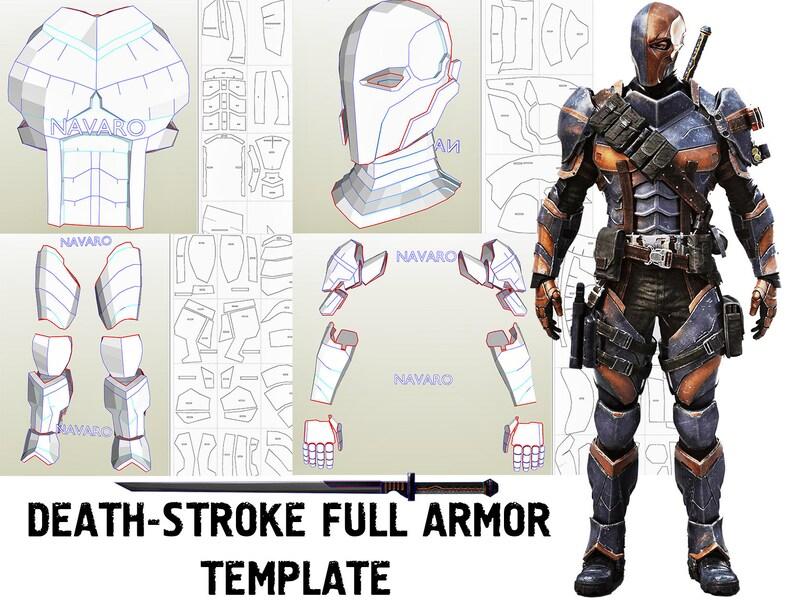 image relating to Sword Template Printable identify DeathStroke Armor - Printable Template Eva Foam + Sword Template / Practice - DeathStroke Cosplay - DeathStroke Helmet / Armor - Pepakura