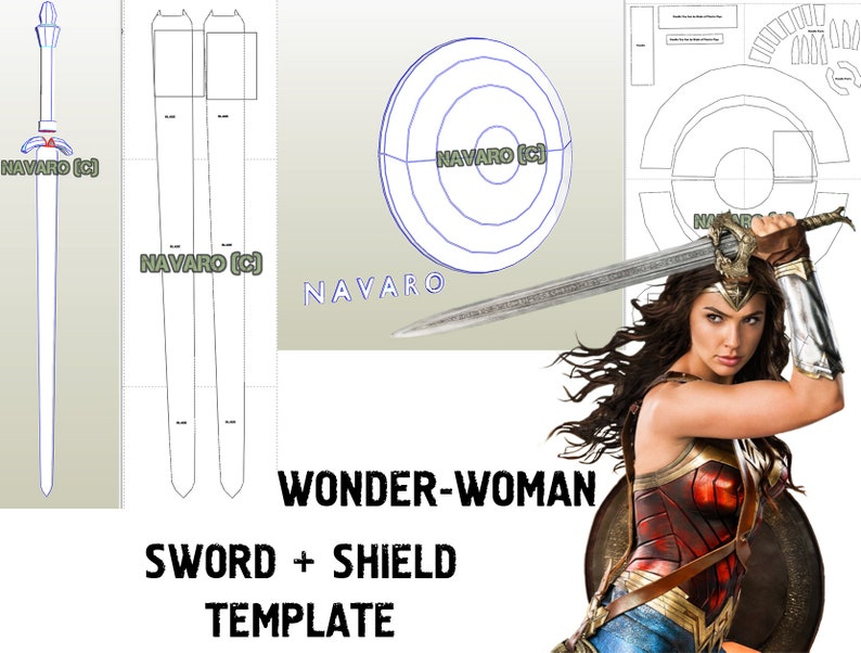 WONDER WOMAN - Printable Template Shield / Sword - Wonder Woman Pepakura -  Wonder Woman Cosplay - Eva Foam Template - Wonder Woman Weapons