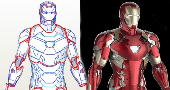 Iron Man Mark 46 Diy Foam Template Iron Man Armor Patterns Etsy