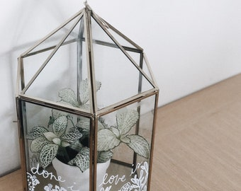Bespoke hand-painted glass terrariums / indoor plants / gardening / wedding decoration gift / geometric container