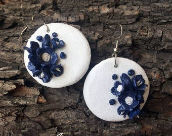 Earrings with flowers, Flowers earrings, Floral earrings, Blue flowers, White earrings, Light earrings, Mothers day gift, Gift for her