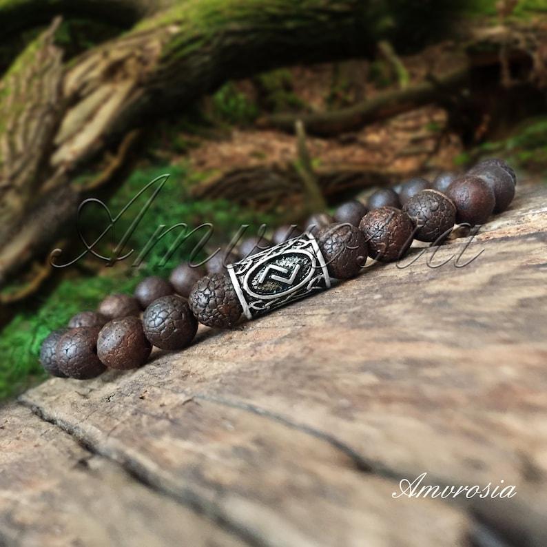 Protection Energy Bracelet Rune Bracelet Viking Jewelry Agate Bracelet Norse Jewelry Nordic Bracelet Asatru Viking Bracelet