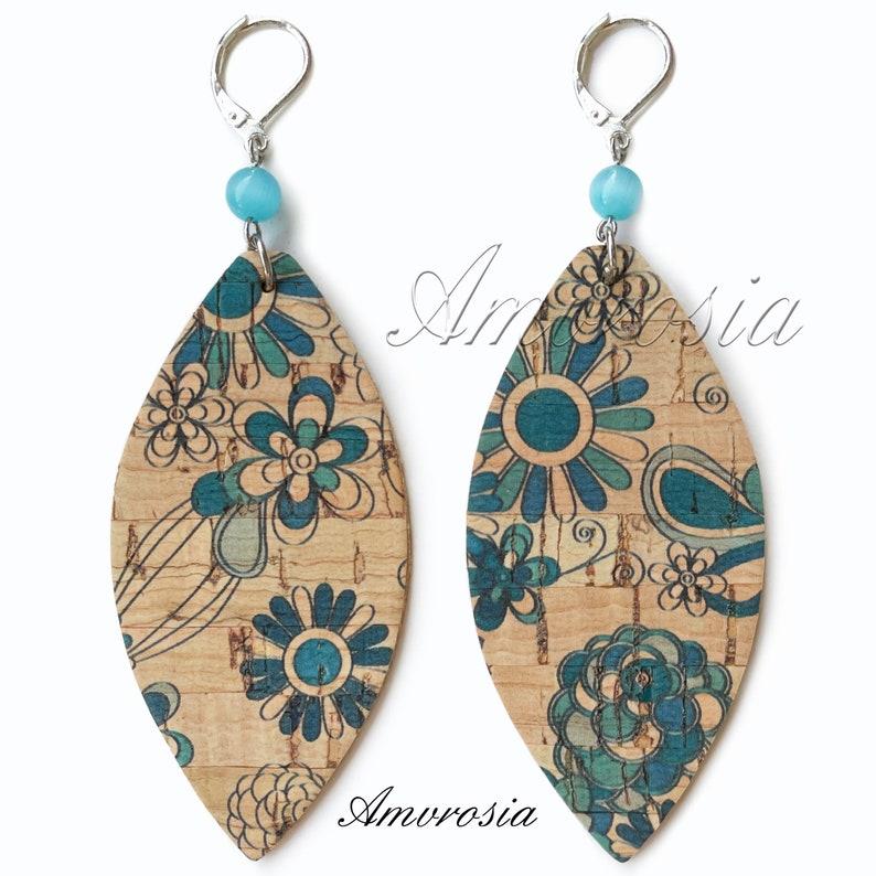 Flowers Earrings Cork Earrings Boho Surfer Style Earrings Cat Eye Earrings Beach Jewelry Vegan Leather Lightweight Earrings