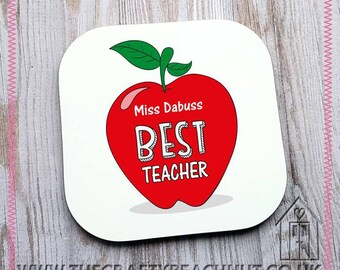 Personalised Teacher Apple Glossy Coaster - Tea - Coffee - Hot Chocolate. Add Own Text - Great Gift/Teacher Gift. UK Seller