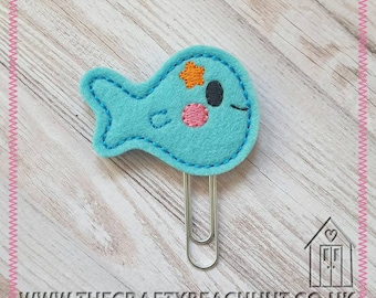 Tropical Fish Embroidered Planner Clip - 100% Blue Wool Felt - Beach - Paper Clip - Stationery - Diary - Journal - Planner Gift. UK Seller