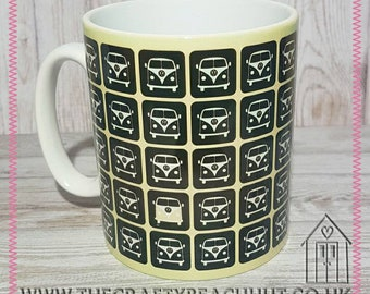 Yellow Campervan Mug - Tea - Coffee - Hot Chocolate. Great Gift - Housewarming - Camper - Caravan - Summer - Dishwasher Proof. UK Seller