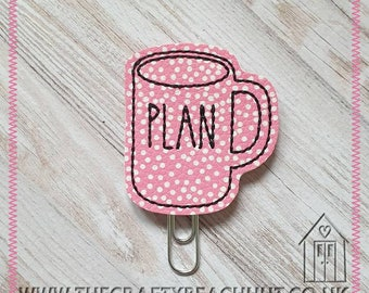 Plan Mug Embroidered Planner Clip - Pink Spotty Leatherette/100% Wool Felt - Paper Clip - Stationery - Diary - Journal - Gift. UK Seller