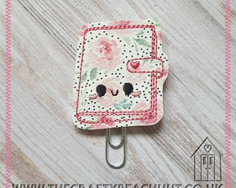 Floral Organiser Embroidered Planner Clip - Floral Leatherette/100% Wool Felt - Paper Clip - Stationery - Diary - Journal - Gift. UK Seller