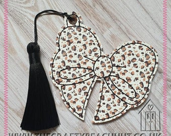 Embroidered Leopard Print Bow Bookmark With Tassel. Fabric/100% Wool Felt. Book - Reading - Planner - Diary - Journal - Autumn. UK Seller