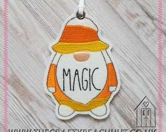 Halloween Candy Corn Magic Gnome Hanging Decoration. 100% Wool Felt/Glitter Fabric. Halloween Decor - Twig Tree - Gonk - Ornament. UK Seller