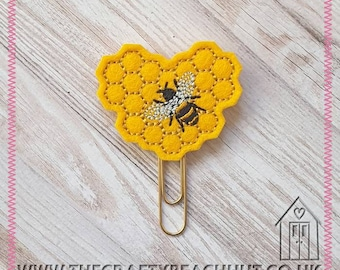 Honeycomb Heart Bee Embroidered Planner Clip - 100% Wool Felt - Paper Clip - Stationery - Diary - Journal - Planner Gift - Bee. UK Seller