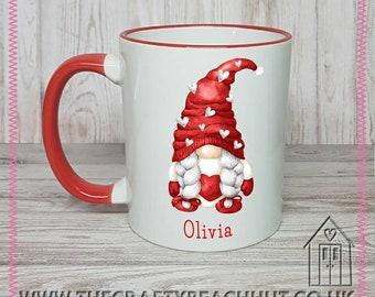 Personalised Girl Gnome Mug - Tea - Coffee - Hot Choc. Gift - Mother's Day - Wifey - Girlfriend - Mum - Love. Dishwasher Proof. UK Seller