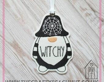 Halloween Witchy Gnome Hanging Decoration. 100% Wool Felt/Glitter Fabric. Halloween Decor - Twig Tree - Gonk - Spider - Ornament. UK Seller